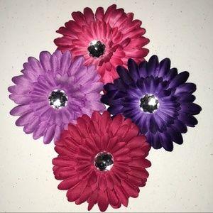 NWOT Set of 4 Summer Flower Gem Hair Clips